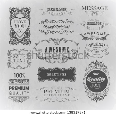 calligraphic design elements label, page decoration/  awesome, premium quality label - stock vector