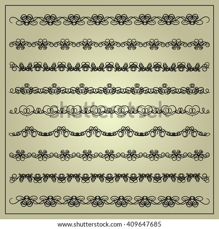 Calligraphic design elements. Openwork calligraphic lines, corners, frames and borders