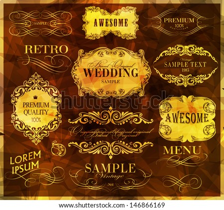 calligraphic design elements, page decoration and labels - stock vector