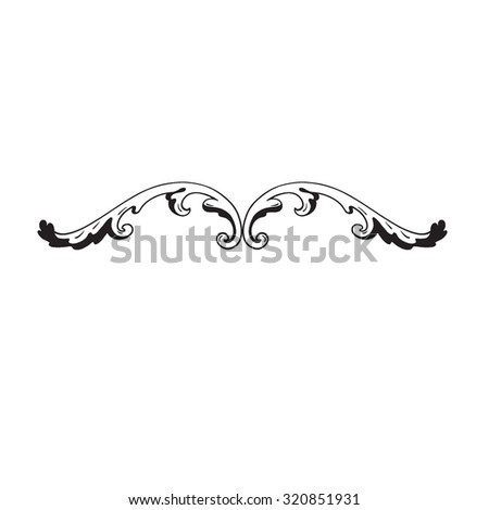 Calligraphic design elements: page decoration, Premium Quality and Satisfaction Guarantee Label, antique and baroque frames. Black and wight graphic style. - stock vector