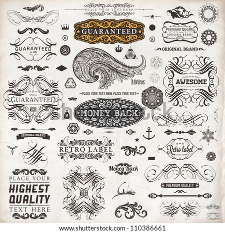 Calligraphic design elements, page decoration, retro labels and frames set for vintage design | Old paper grunge texture