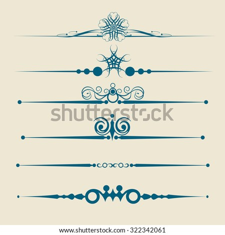 Calligraphic Design Elements, Page Dividers Dividers,Vintage, Decorative vector dividers, Decorative Ornament Borders - stock vector