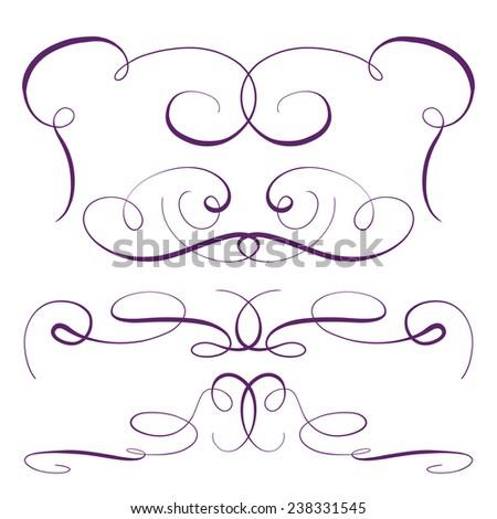 Calligraphic design elements vector set - stock vector