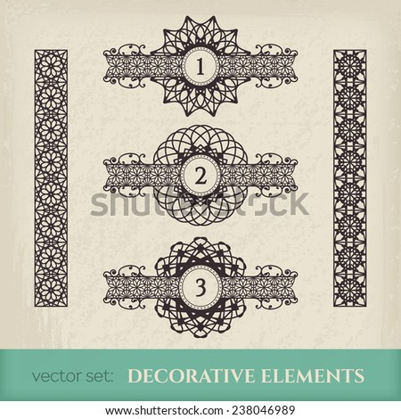Calligraphic design elements. Vector set of chapter dividers and ornamental borders - stock vector