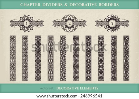 Calligraphic design elements. Vector set of chapter dividers and ornamental borders