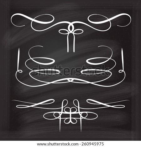 Calligraphic design elements vector set on the blackboard - stock vector