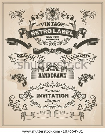 Calligraphic design elements. Vintage banner and ribbon vector set - stock vector