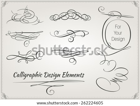 Calligraphic design elements. Vintage elements for your design - stock vector