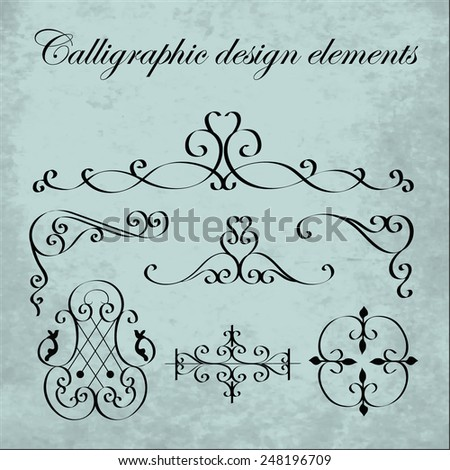 Calligraphic design elements - wrought iron - stock vector