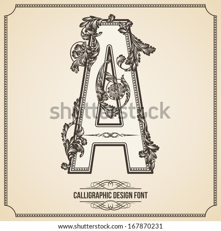 Calligraphic Design Font with Typographic Floral Elements for your Artworks. Nice for Page Decoration. Letter A - stock vector