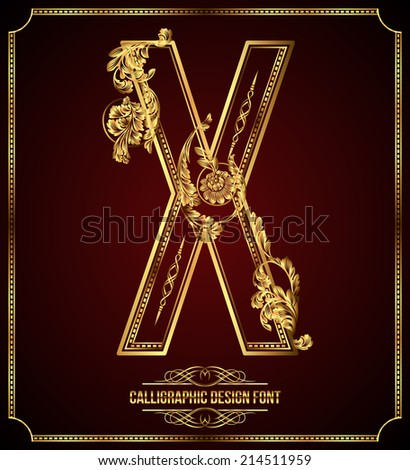 Calligraphic Design Font with Typographic Floral Elements. Premium design elements on dark background. Page Decoration. Retro Vector Gold Letter X - stock vector