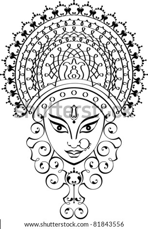 Calligraphic Durga Indian goddess - stock vector