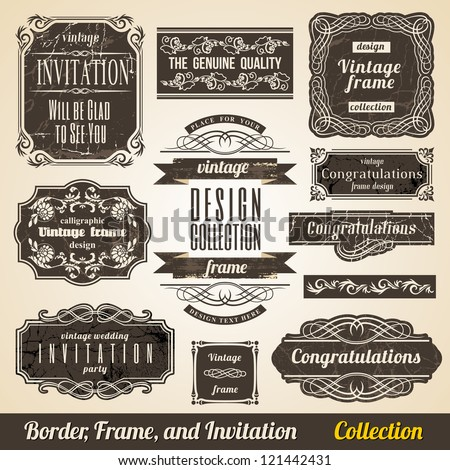 Calligraphic Element Border Corner Frame and Invitation Collection. - stock vector