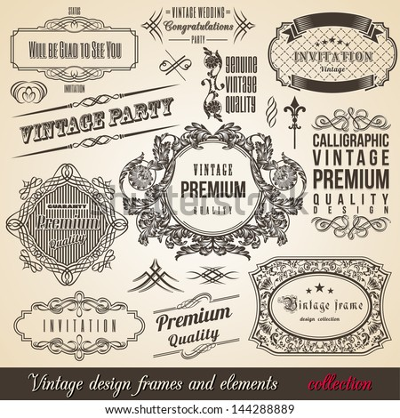 Calligraphic Element Border Corner Frame and Invitation Collection. Decoration Typographic Elements, Vintage Labels, Ribbons. Design vector illustration - stock vector