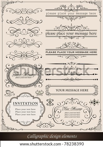 Calligraphic elements and page decoration - stock vector