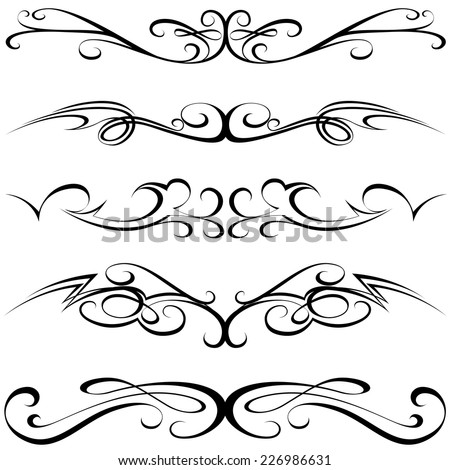 Calligraphic Elements - Black Tattoo,  Illustration Vector - stock vector