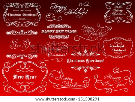 Calligraphic elements for Christmas and New Year holidays. Jpeg (raterized) version also available in gallery - stock vector