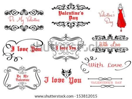 Calligraphic elements for Valentine's Day holiday design with scripts and headlines. Jpeg version also available in gallery - stock vector