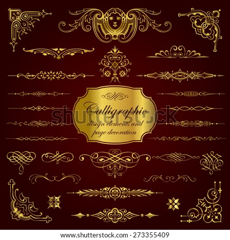 Calligraphic elements in gold - stock vector