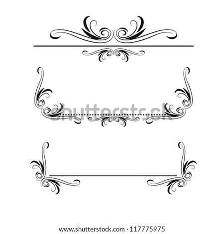 calligraphic elements set - stock vector