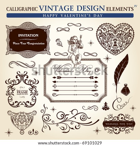 calligraphic elements vintage ornament set. Happy valentine day vector - stock vector
