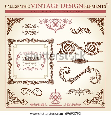 calligraphic elements vintage ornament set. Vector frame decor - stock vector