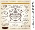 calligraphic elements vintage ornament set. Vector frame ornament decor - stock vector