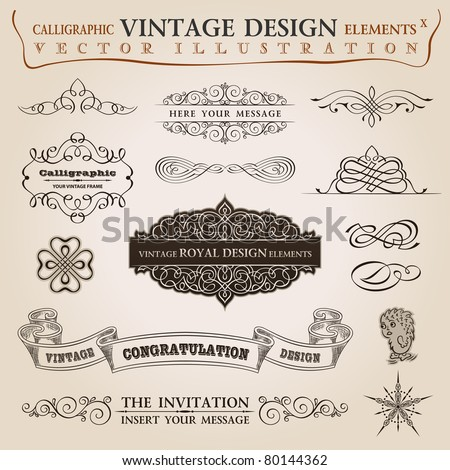 Calligraphic elements vintage set Congratulation ribbon. Vector frame ornament - stock vector