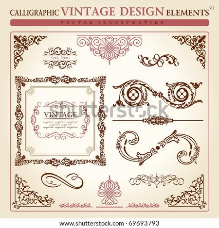 Calligraphic elements vintage set Congratulation ribbon. Vector frame ornament icons vintage elements baroque logo set, Signs and Symbols. Design and page decoration. Border frames royal ornament - stock vector