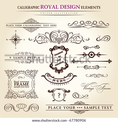 calligraphic elements vintage set. Hand-drawn retro written feather vector - stock vector