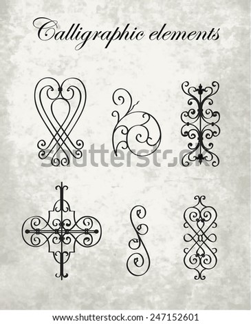 Calligraphic elements - wrought iron - stock vector
