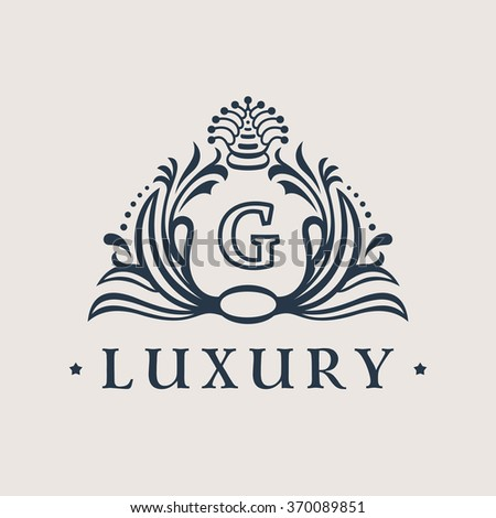 Calligraphic flourishes Luxury Logo. Letter G. template elegant ornament. Business sign, monogram, emblem for Hotel, restaurant, Royalty boutique cafe, heraldic, Jewelry Fashion. Vector illustration - stock vector