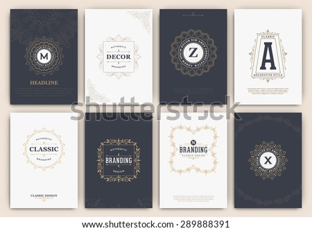 Calligraphic Flyer Design Template Set - Classic Ornamental Style. Elegant luxury frame with typography - Ideal logo for restaurant, hotel, cafe or other businesses with classic corporate identity - stock vector