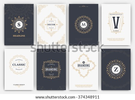 Calligraphic Flyer Design Template Set - Classic Ornamental Style - Elegant luxury frames with typography - Ideal logo for restaurant, hotel, cafe or other businesses with classic corporate identity - stock vector
