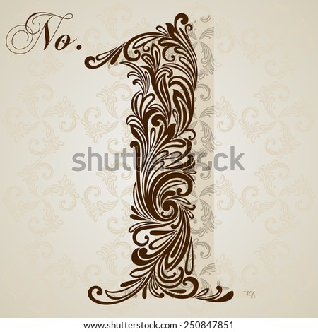 Calligraphic Font. Number one. Vector Design Background. Swirl Style Illustration. - stock vector