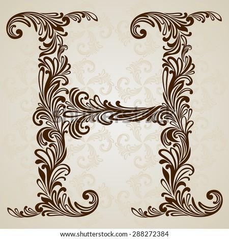 Vintage Initials Letter H Vector Design Background Swirl Style Illustration