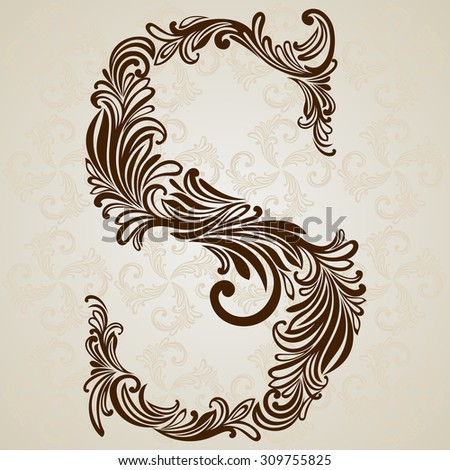 Vector ornamental moon logo symbol on stock vector 472209841 vintage initials letter s vector design background swirl style illustration thecheapjerseys Gallery