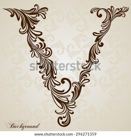 Calligraphic Font. Vintage initials letter V. Vector Design Background. Swirl Style Illustration. - stock vector