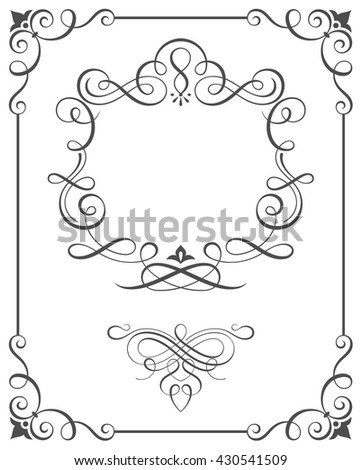 Calligraphic frame and ornate scroll elements vector illustration. - stock vector