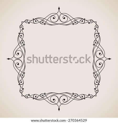 Calligraphic frame and page decoration. Vector background vintage illustration art emblem - stock vector