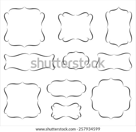 Calligraphic Frames  - Set of calligraphic frame and labels.  Objects are grouped for easy editing. - stock vector