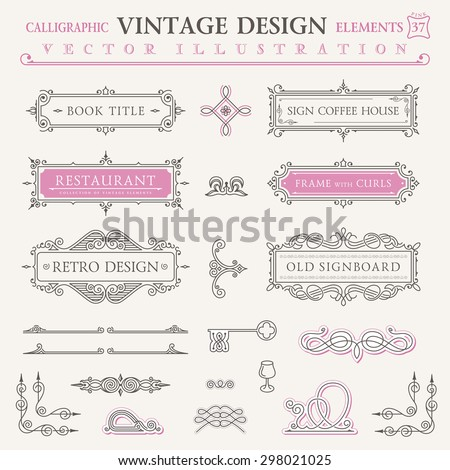 Calligraphic frames vintage elements. Vector baroque logo set. Design symbols and page decoration. Border frames collection royal ornament. Pastel colors - stock vector