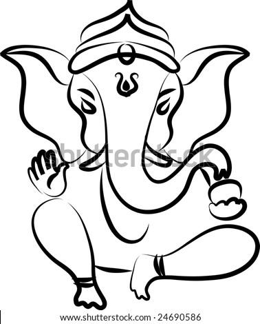 Calligraphic Ganesha - stock vector