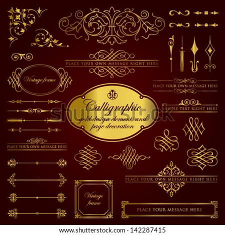 Calligraphic gold design elements and page decoration set 2 - stock vector