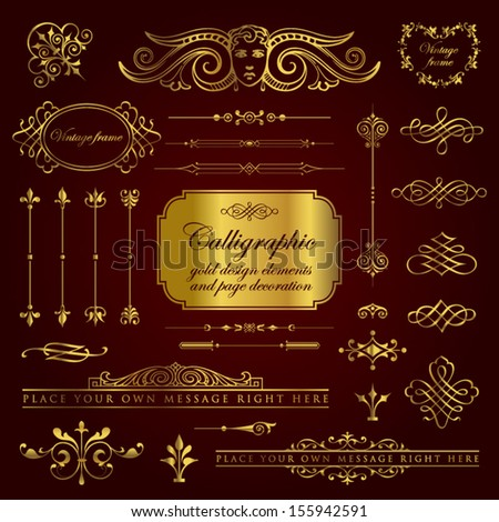 Calligraphic gold design elements and page decoration set 4