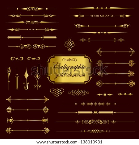 Calligraphic gold elements