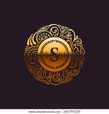 Calligraphic Gold floral baroque monogram. Vintage luxury Emblem logo letter S. Vector illustration - stock vector