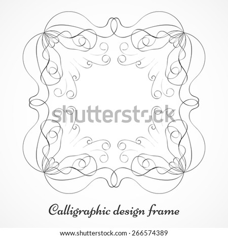 Calligraphic grey frame with decorative floral corners for page decoration. Design elements isolated on white background. Vector illustration - stock vector