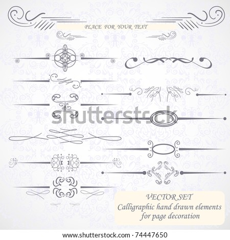 Calligraphic hand drawn design elements - stock vector