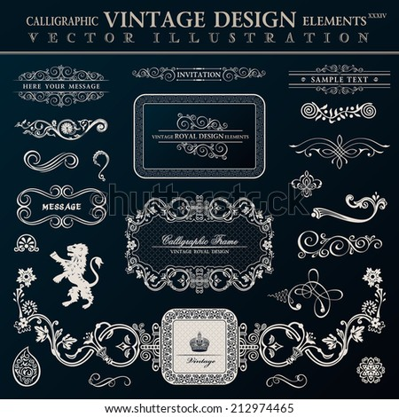 Calligraphic heraldic decor elements. Vector vintage frameworks black - stock vector